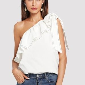 Tops - White Ruffle Trim Knotted One Shoulder Top